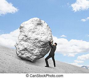 homem negócios, Empurrar, pedra