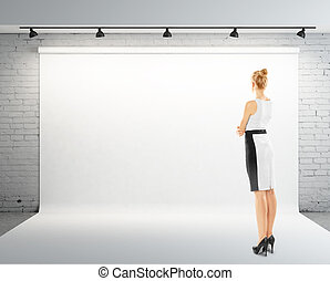 woman and white backdrop - businesswoman and white backdrop...
