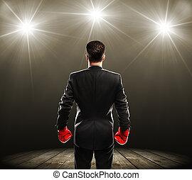 hombre, boxeo, guantes