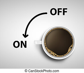concept of on and off - Cup of coffee concept of on and off