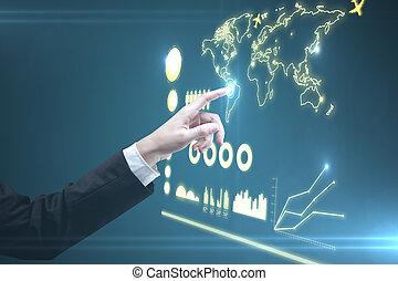 pushing interface - hand of man pushing interface, closeup