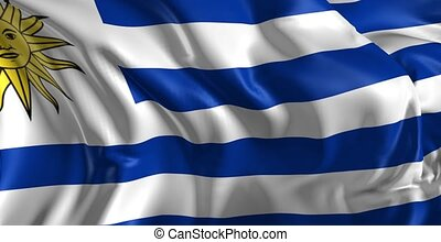 Flag of Uruguay - Beautiful 3d animation of Uruguay flag in...