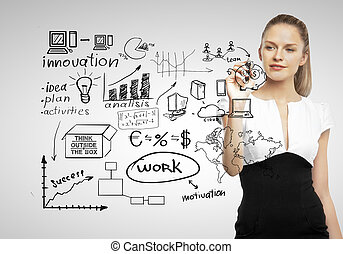 business concept - businesswoman drawing and business...