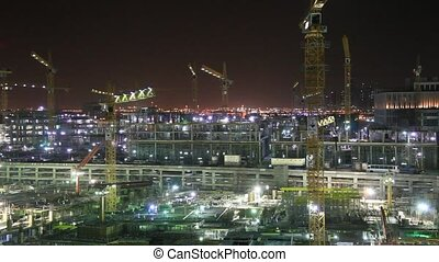 Construction site at night - Construction site illuminated...