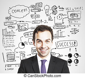 happy businessman - businessman and global business concept