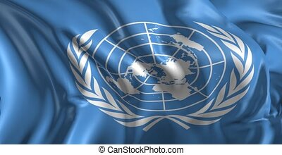 Flag of United Nations - Beautiful 3d animation of the...