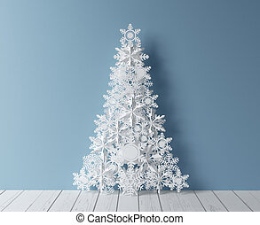 Christmas tree - paper Christmas tree and blue interior