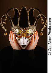 portrait with Venice mask - portrait of a woman with Venice...