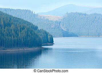 Alpine Lake Vidra summer view - Mountain Lake Vidra summer...