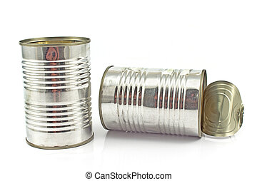 Two open empty tin can isolated on white