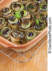 Baked eggplant and zucchini with hemp seed - Eggplant and...