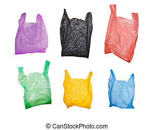 plastic bags - collection of various plastic bags isolated...