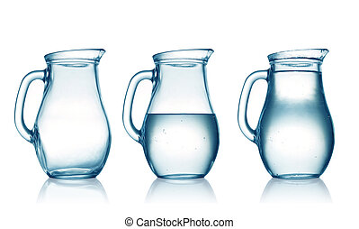 jugs - empty,half and full with water jug. Isolated on white