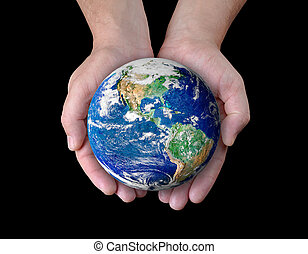 World in your hands - Man holding a globe in his hands....