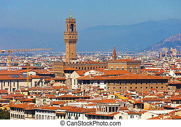 Palazzo Vecchio in Florence - Florence cityscape with...