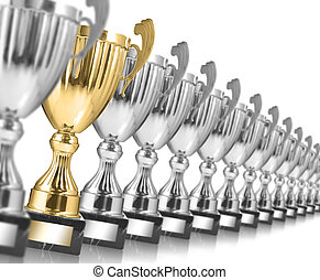 trophies - Row of silver trophies and one gold isolated on...