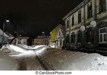 Winter, Old street in Jelgava Latvia