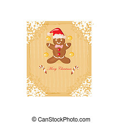 Abstract card with Christmas gingerbread