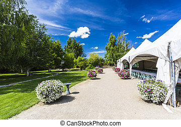 Tents for a Party - White tents set up for a large party or...