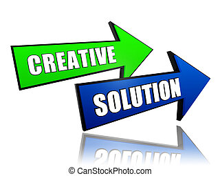 creative solution in arrows - creative solution - text in 3d...