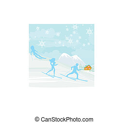 people go skiing in the winter day
