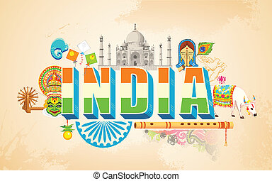 India background - illustration of India background showing...