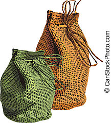 sacks - illustration of green and orange wicker sacks