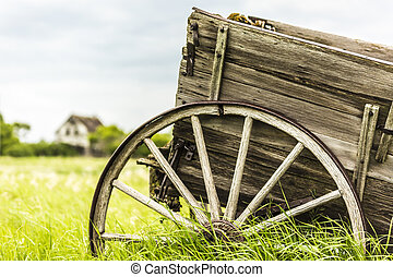 Wagon Wheel - An old broken down wagon abandoned in the...