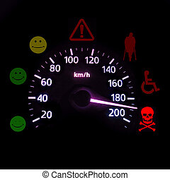 advisory car with the figurative device of control of speed....