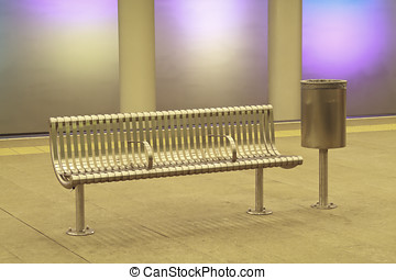 Empty metro station 2 - Bench and rubbish bin on the...