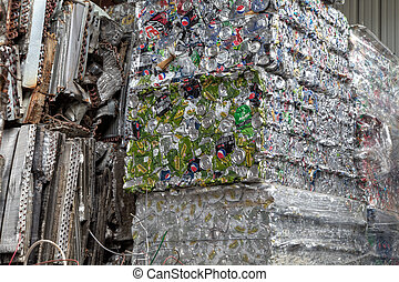 Bundled cans - Bundled bales of cans in a recycling center