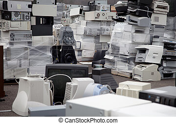 Computers printers - Stacks of electronic equipment,...