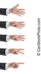 counting hands - Businessman counting hands. Isolated on...