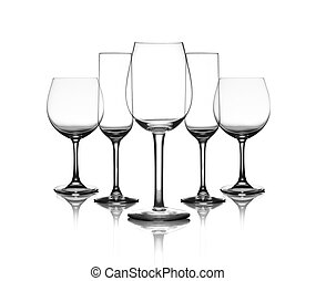 cup glasses - collection of cup glasses isolated on a white...
