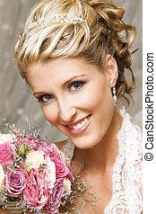 Beautiful Bride - Beautiful Blond bride wearing diamond...