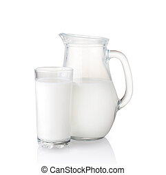 milk jug - Isolated on white milk jug and glass