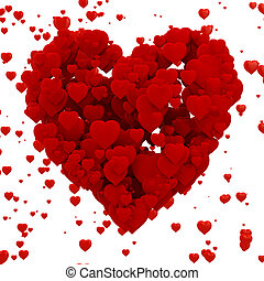 3d heart made of hearts , background