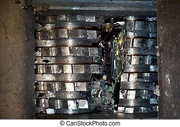 Hard drive shredder - Hard drive crusher shredder used for...