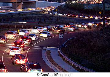 Traffic freeway ramp - Bumper to Bumper in rush hour traffic...