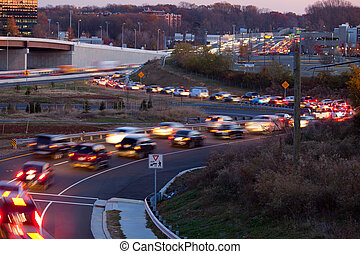 Traffic Moving - Rush hour slow traffic on the beltway...