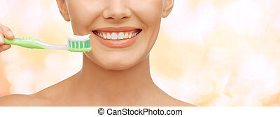 beautiful woman with toothbrush - beauty and dental health...