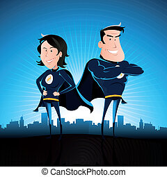 Blue Superhero Man And Woman - Illustration of a cartoon...