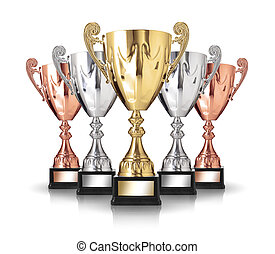 trophies - champion  trophies isolated on white background
