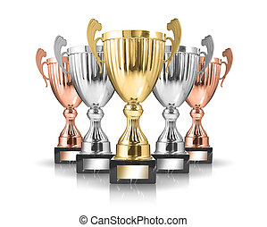trophies - champion golden trophy isolated on white...
