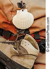 Shell and shoe on a backpak - Shell and shoe on the backpack...