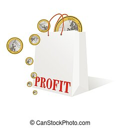 profit with euro coin color vector illustration