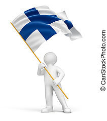 Man and Finnish flag Image with clipping path