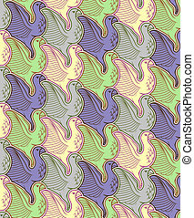Seamless bird pattern - Birds tessellation pattern