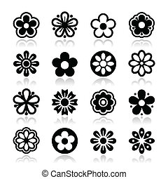 Flower head vector icons set - Nature icons - different...