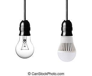 bulbs - light bulb and LED bulb isolated on white
